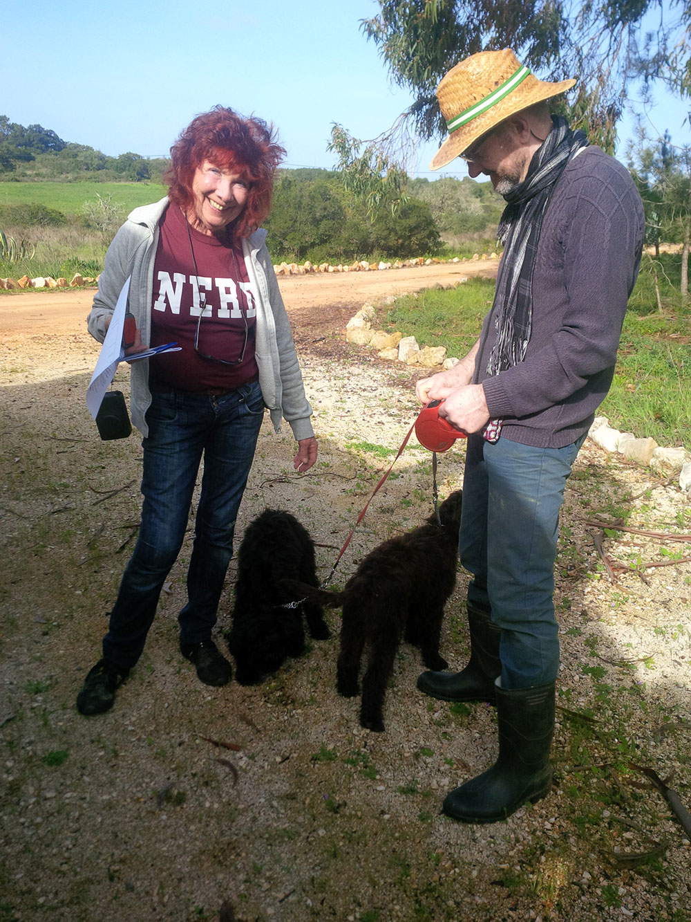 Heather and Alan telling Baco and Shuba to be good dogs and not to show the family up with naughty behaviour!