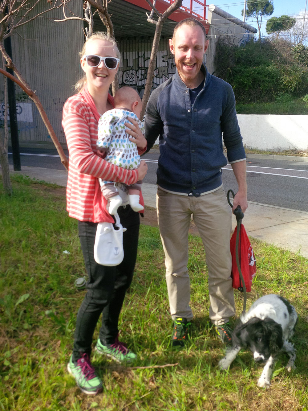 Amy and Chris with their baby, saying au revoir to Pepper