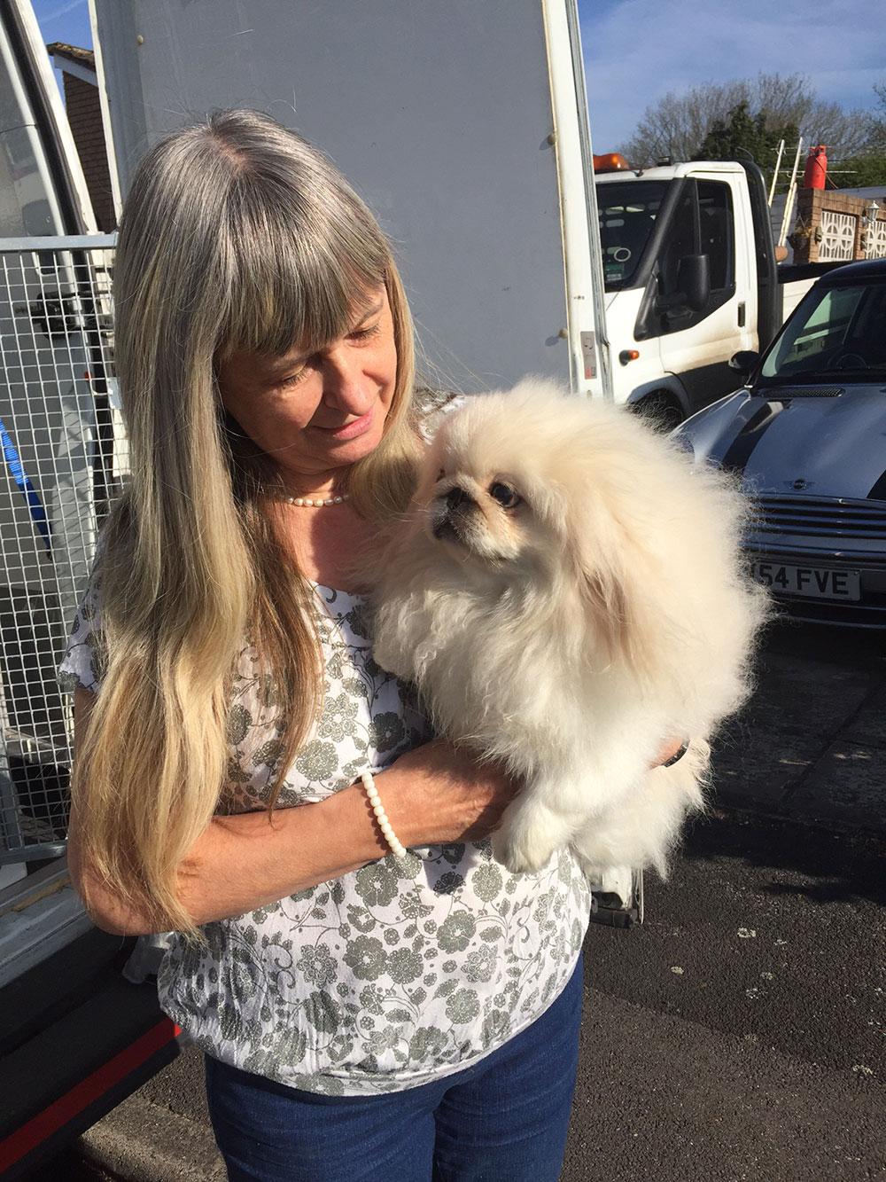 Helen meets her new Peke puppy Ludo
