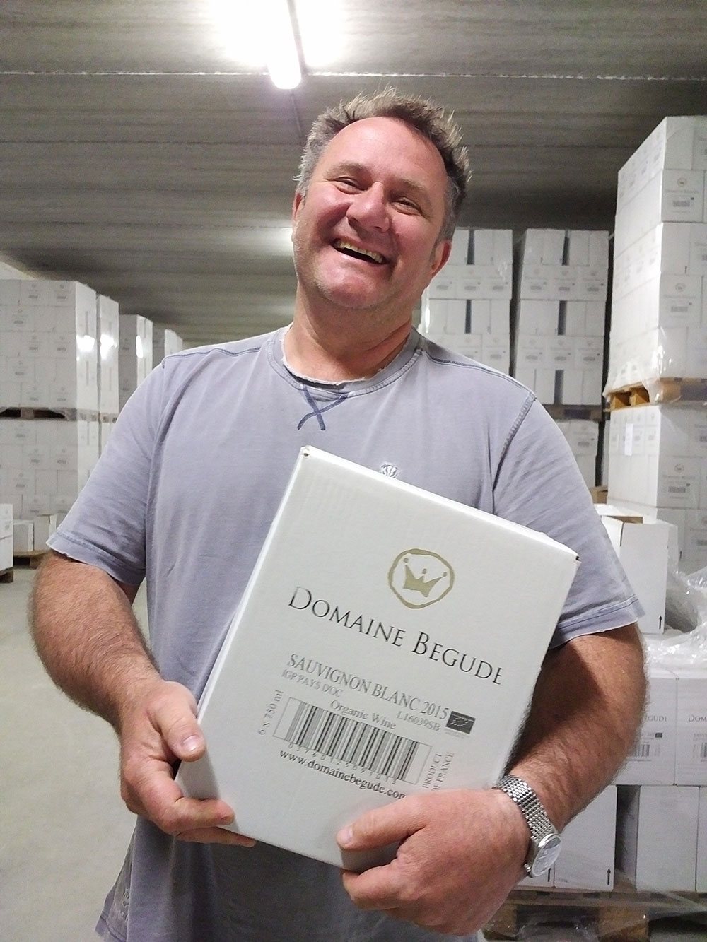 James with just a small quantity of wine in the stockroom