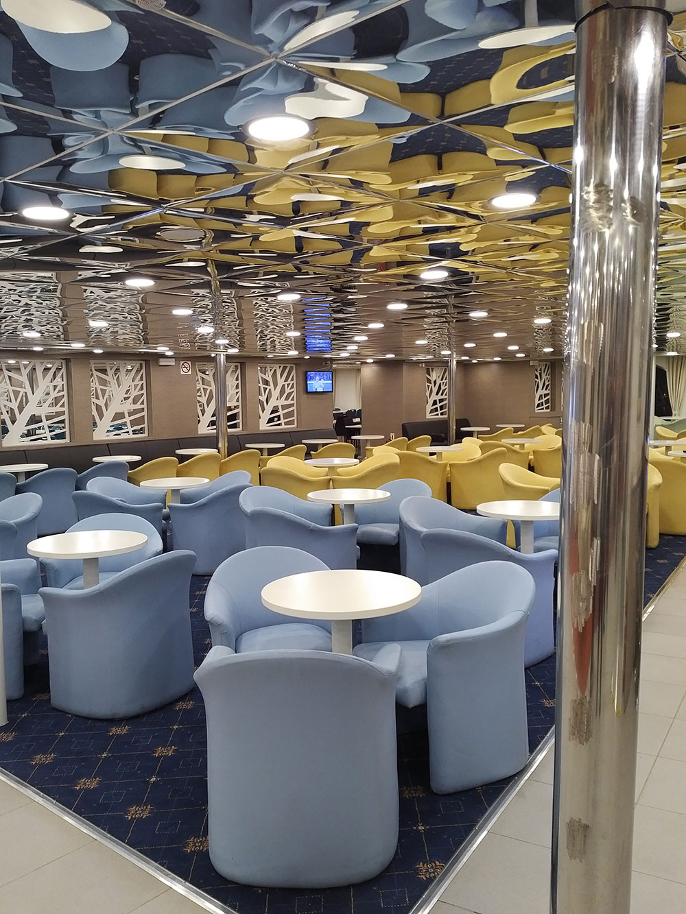 The spick-and-span lounge on board