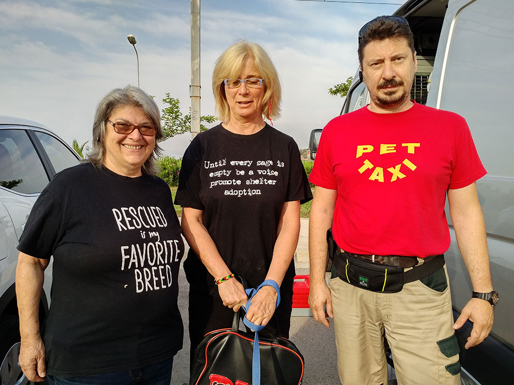 Kiki and Martha wearing special T shirts promoting shelter adoptions; with Akis, whose pet taxi service is a such a boon to us