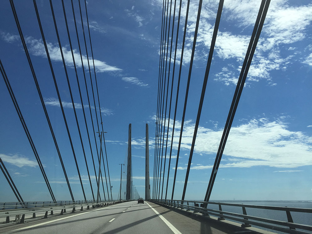 Crossing our fave bridge, from Denmark to Sweden