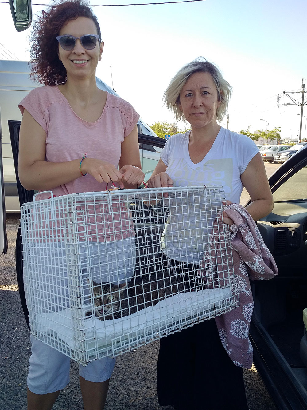 Chantelle arrives with her friends from Nine Lives Greece