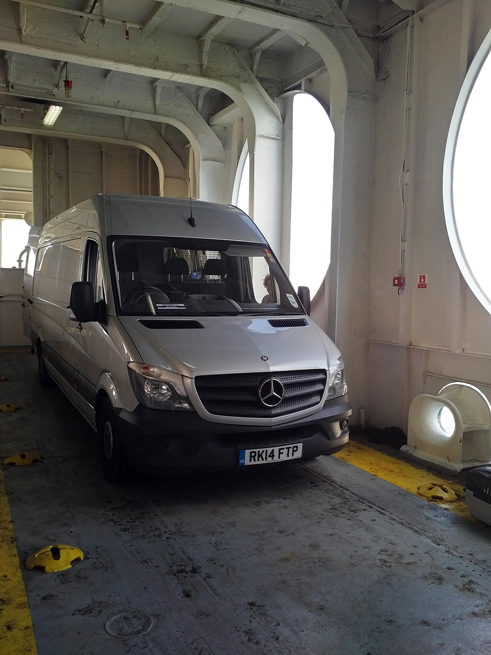 On board the ferry we had a special parking area with no other vehicles around the van. Large portholes provided excellent ventilation to keep the pets comfortable, and we could visit them throughout the crossing.