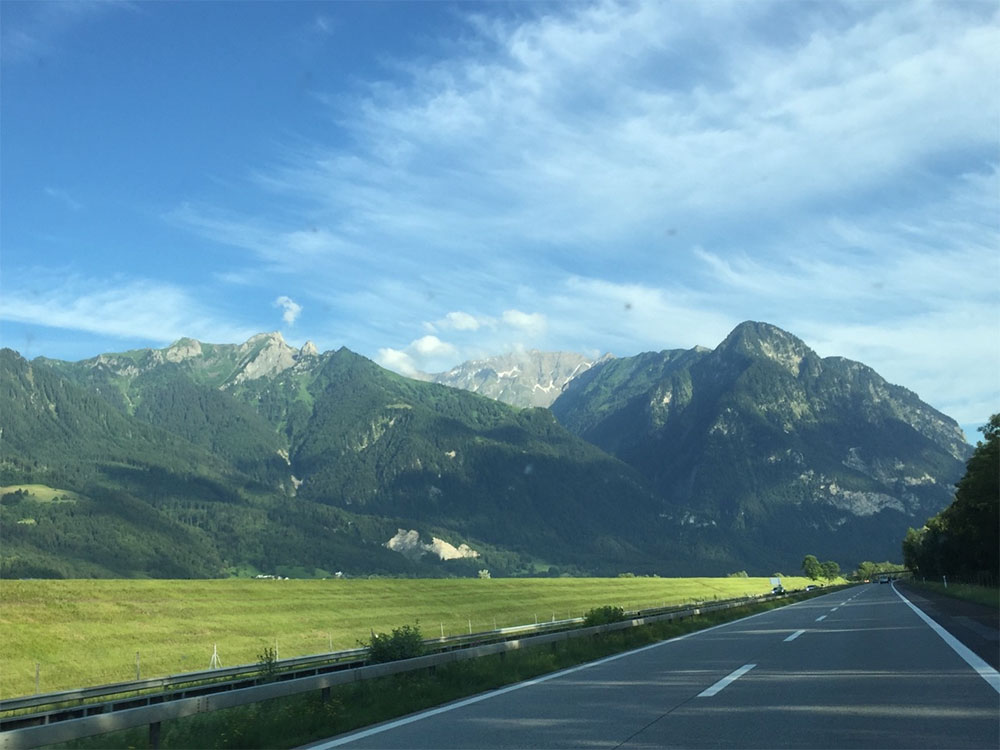 Not a bad view from the office window as we approach the Alps