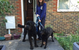 Moses (L) and Amy with owner Giulia