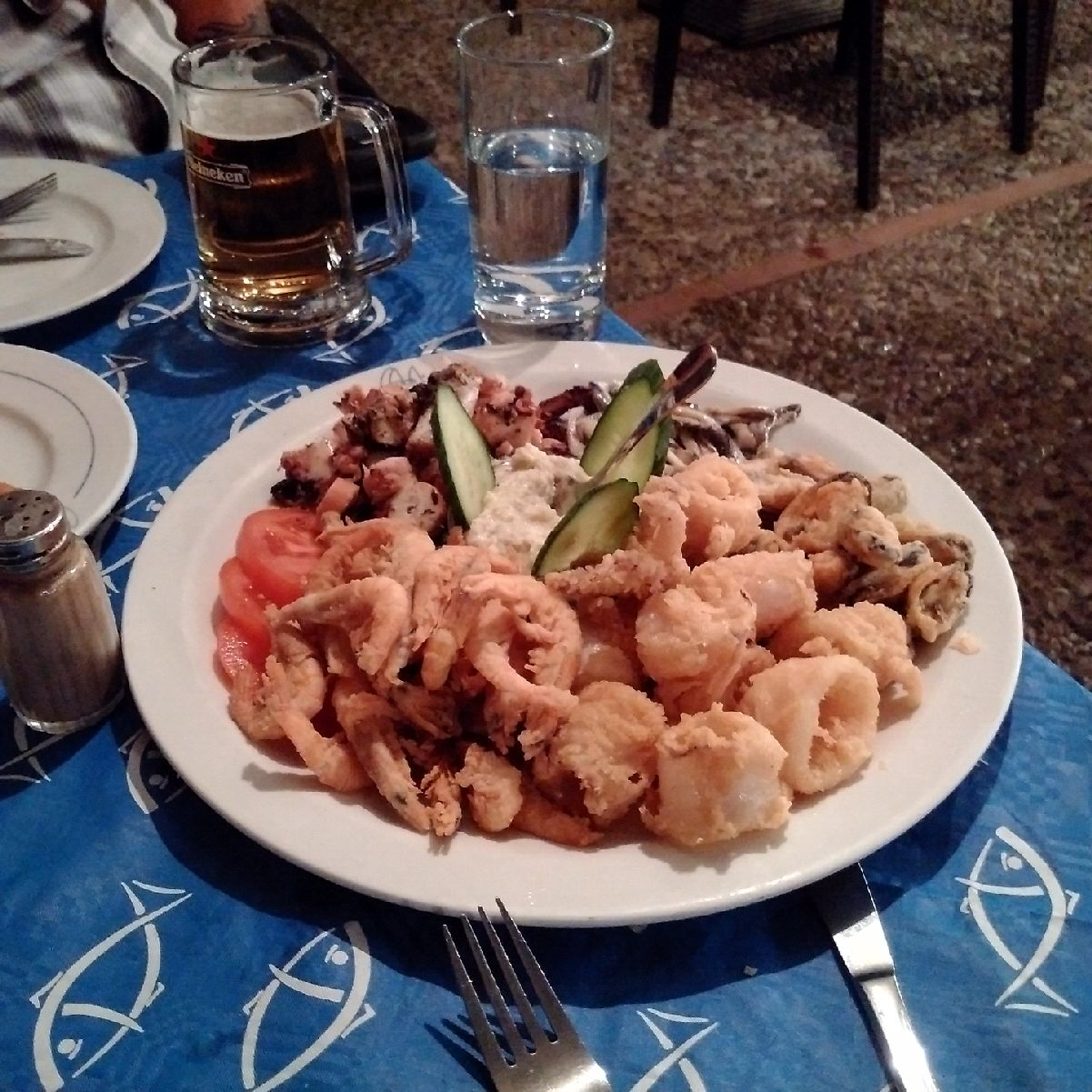 Yummy seafood platter enjoyed in Glyfada
