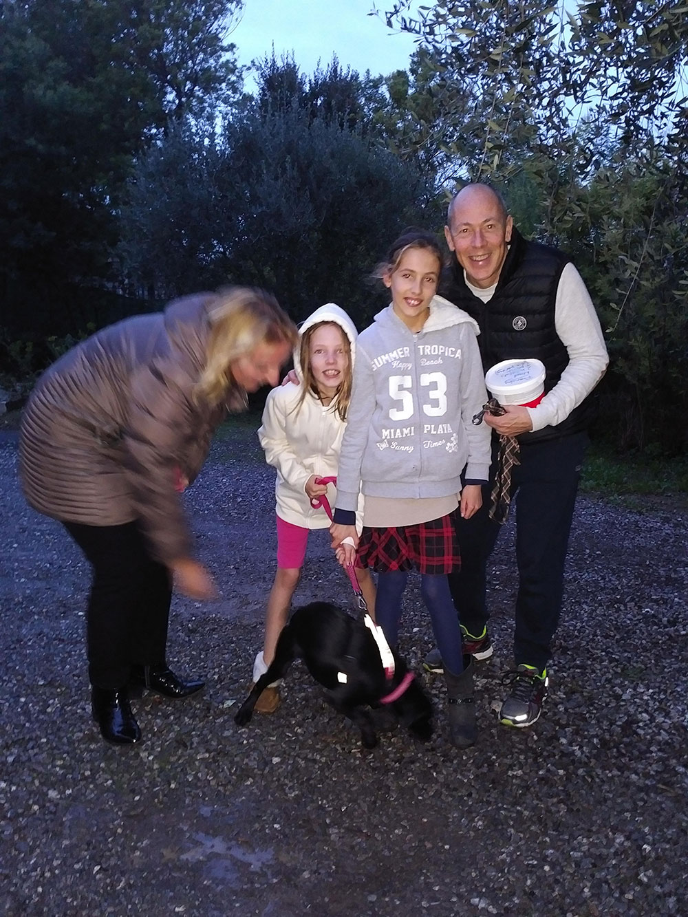 reunions in France — Labrador puppy Frenchie gets an ecstatic welcome from her new family in Cagnes sur Mer