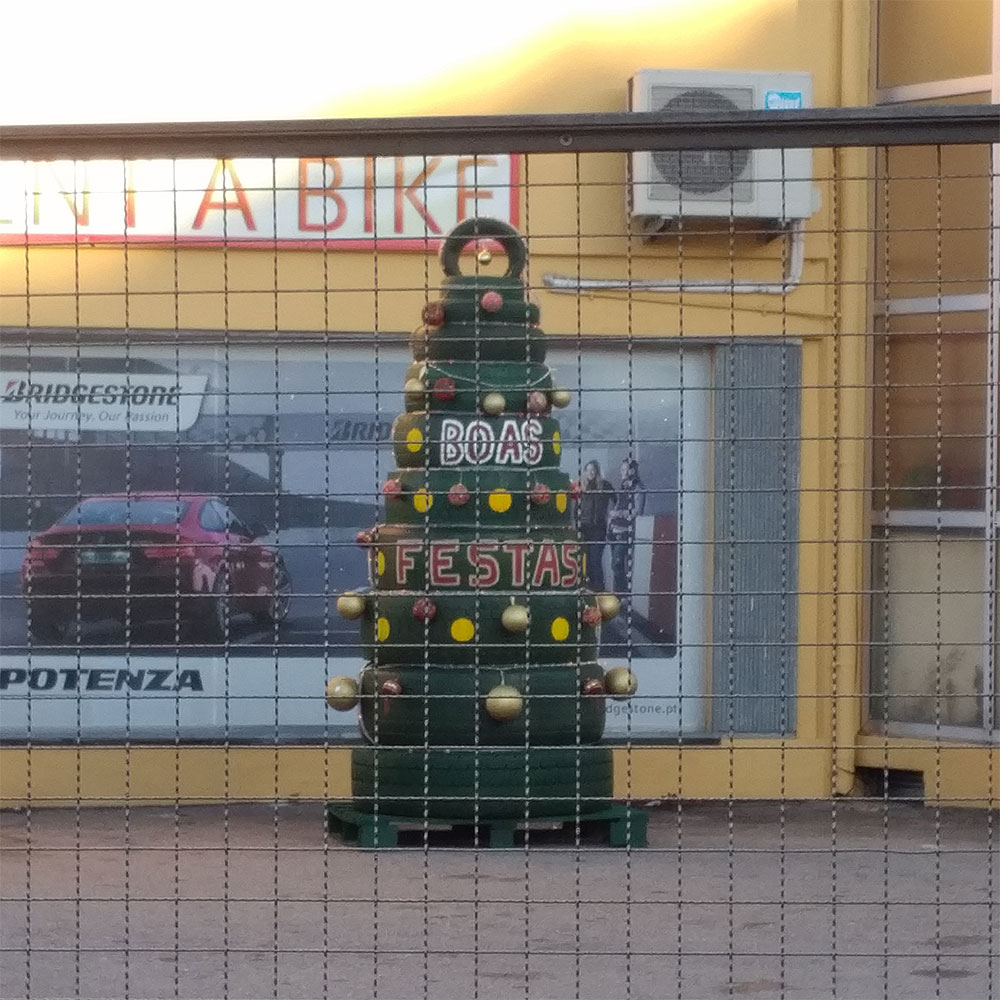 Inventive 'Christmas tree' at a motorbike rental store in Portugal