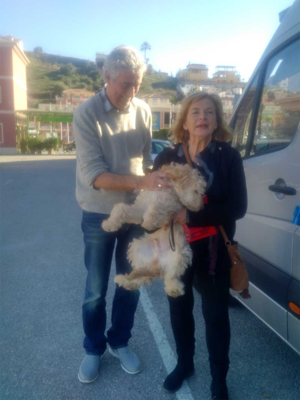 The happy event on a sunny Spanish afternoon. Bobby was too excited to sit still for a photo! Julie has trained guide dogs in the past, so will doubtless soon have him beautifully organised.