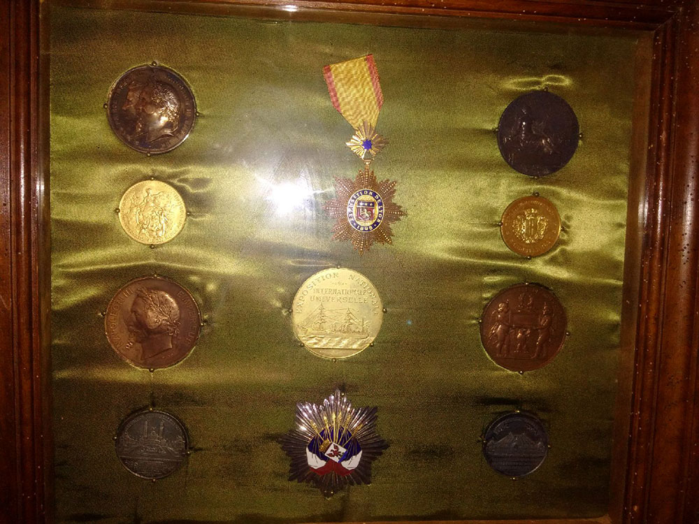 Also on display, an impressive range of military medals…