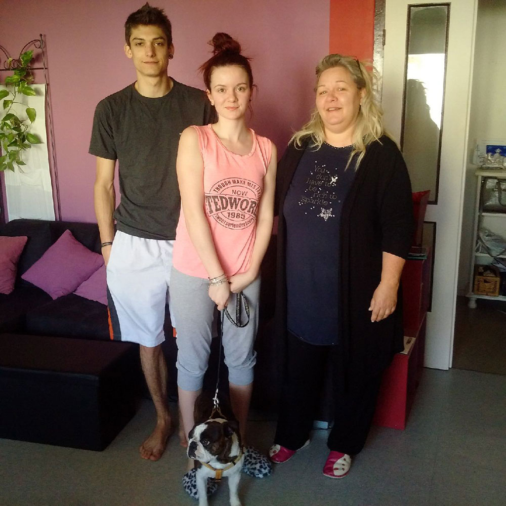 Angus with his carers (L to R) Guillaume, Alison and Sandrine