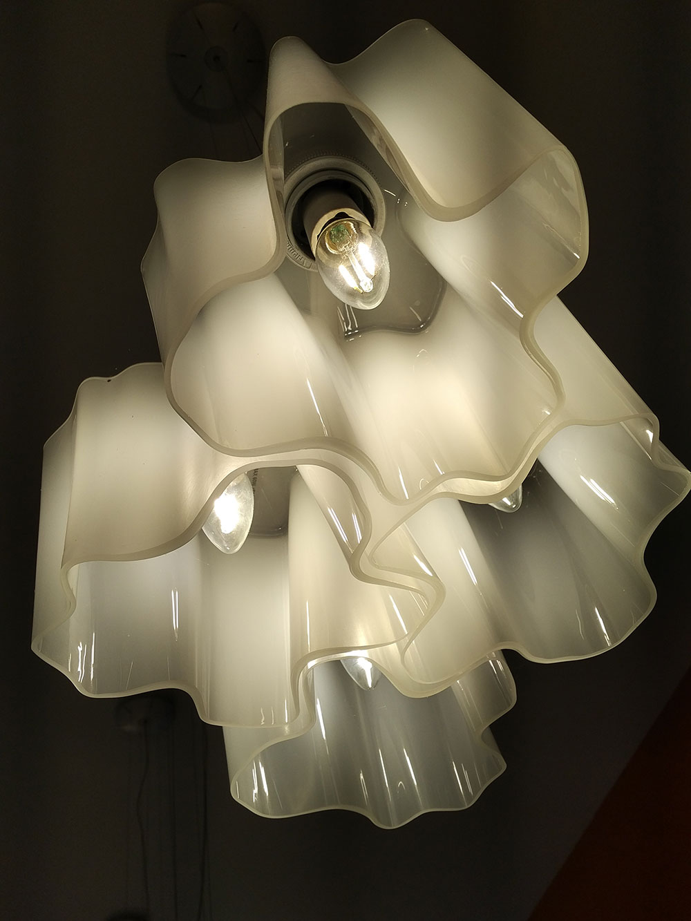 A more modern light fitting, again made of glass