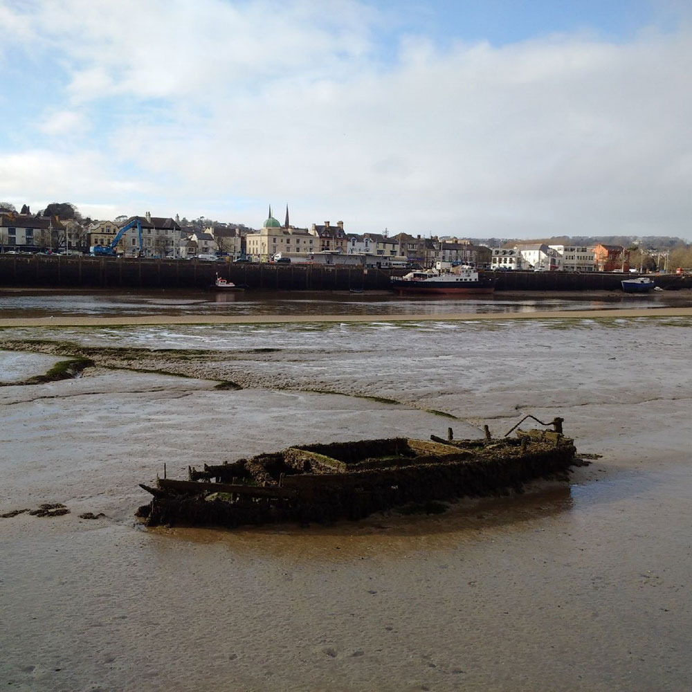 The tide was out at Bideford, revealing a boat that could do with a spot of work!