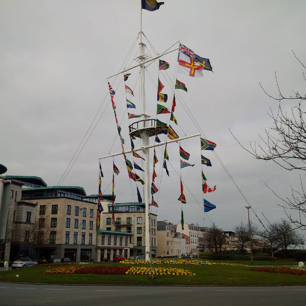 The splendid roundabout at Saint Peter Port, the capital of Guernsey