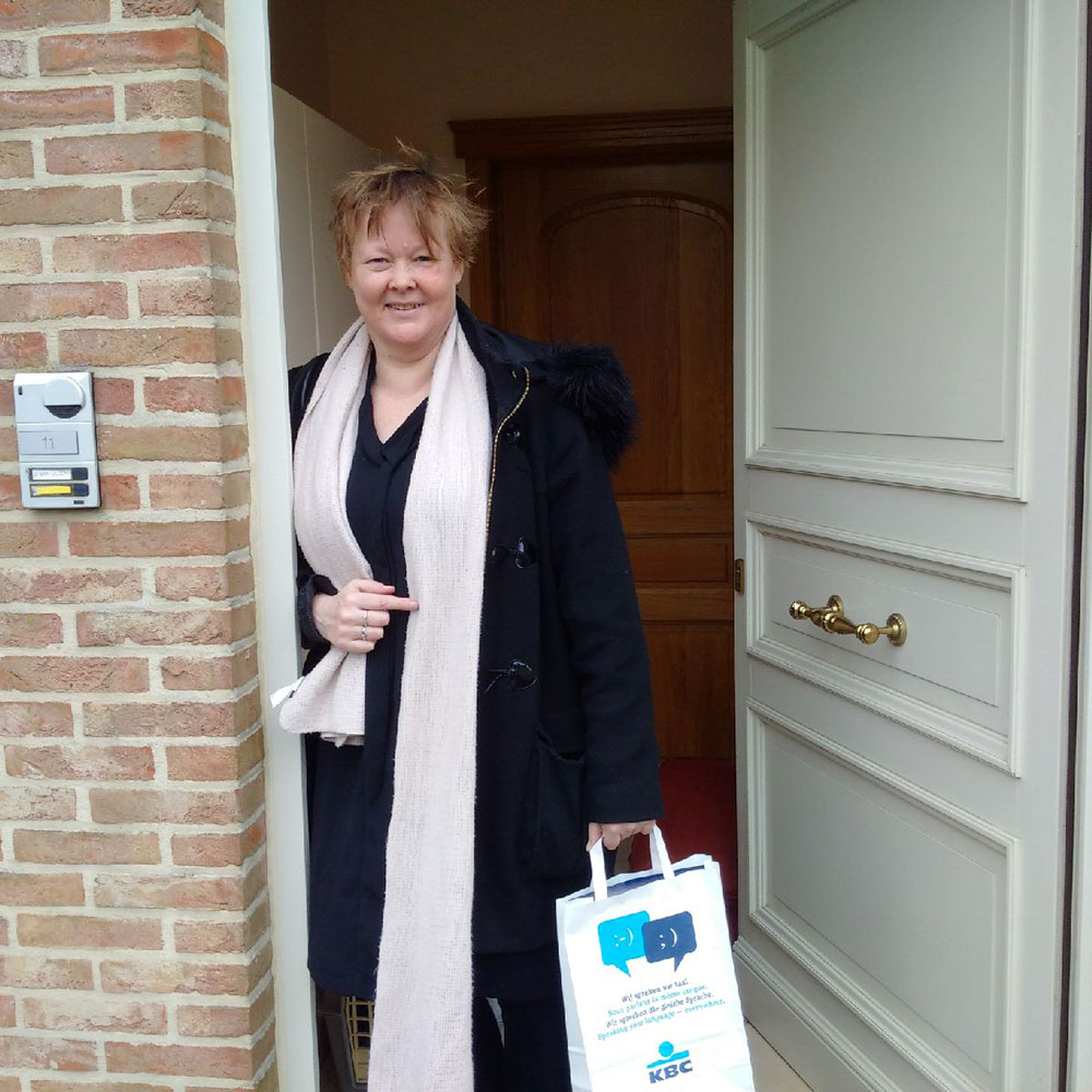 We reached Janneke's new home in Belgium just before she did — here she is ready to welcome Pippi and Emil over the threshold
