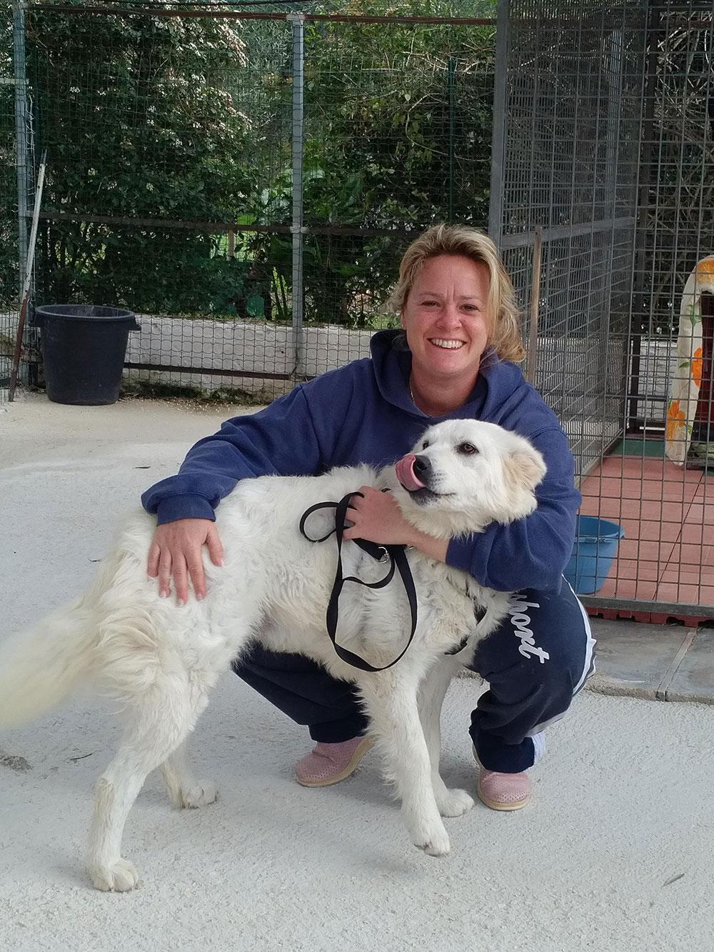 Sabrina with Stella, a gorgeous fluffy Maremma Sheepdog