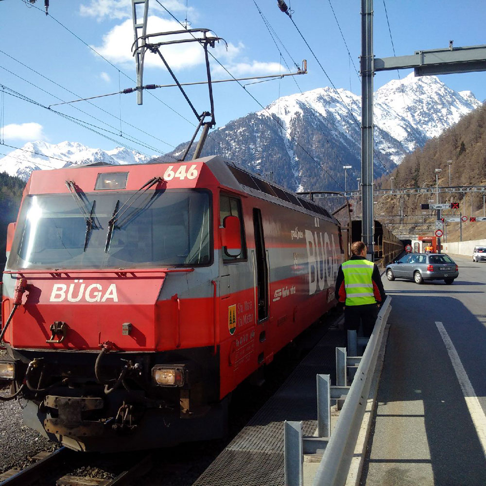 The satnav tried to direct us on to the Klosters Selfranga-Sagliains car train that runs through the Vereina Tunnel