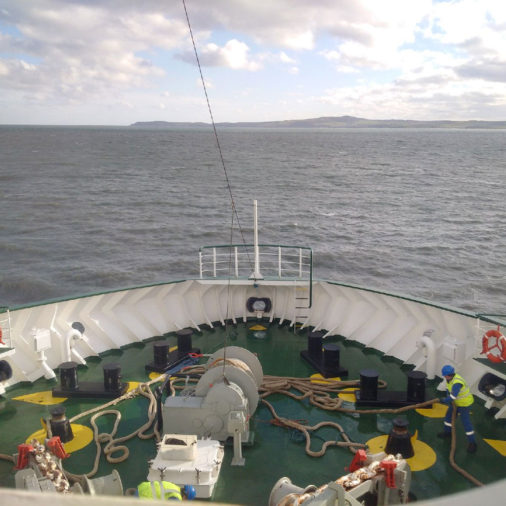 A lovely morning as we slip anchor and set off across the Irish Sea from Holyhead to Dublin in the Republic of Ireland