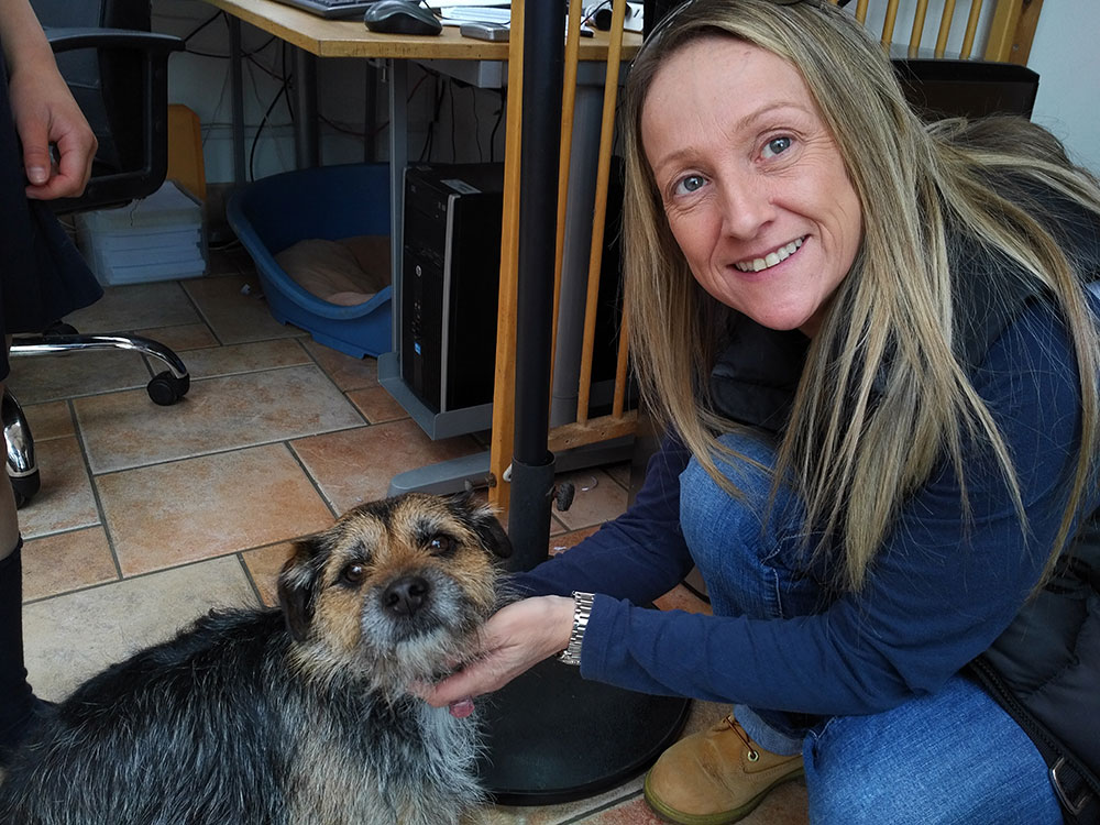 Pets travelling to France —Tracey giving cute Sid a goodbye cuddle