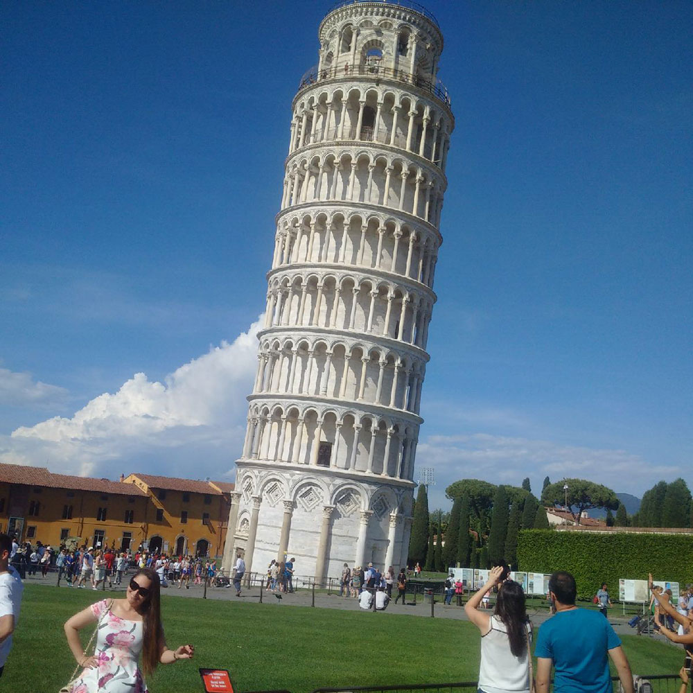 After dropping off his passengers from the UK, courier Richard had time for a spot of sightseeing. Here's that famous leaning tower — looks like Richard did a sympathetic lean as he took the photo!