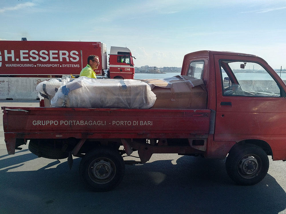 A small truck was needed to get all the boxes onto the ferry at Bari