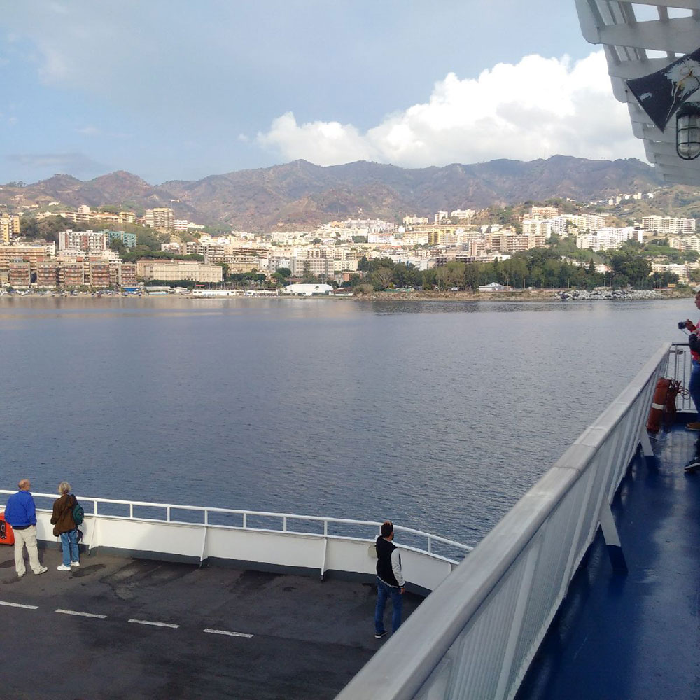 From Reggio Calabria, it was a short ferry ride across the Strait of Messina to Sicily. Here we are, just five minutes away.