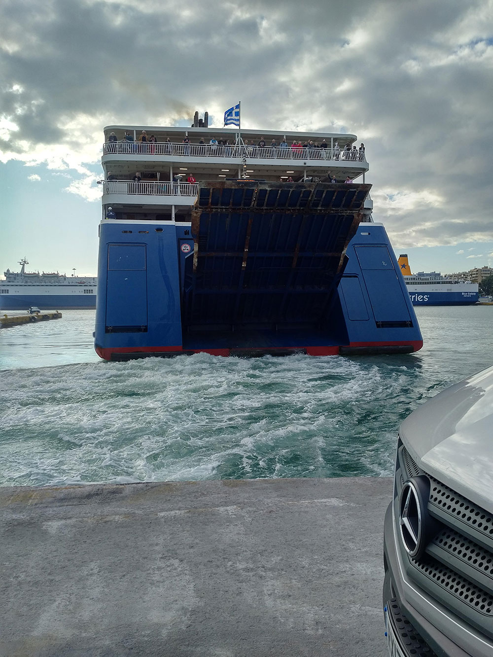 Finley and his family were due to catch this ferry from Athens to Naxos, but were just too late