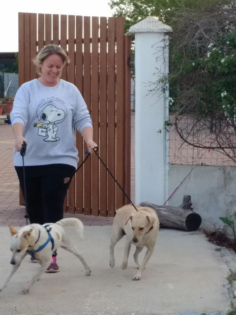We collected the dogs from Sabrina at Happy Paws. Here she is with Rebel and Lina.