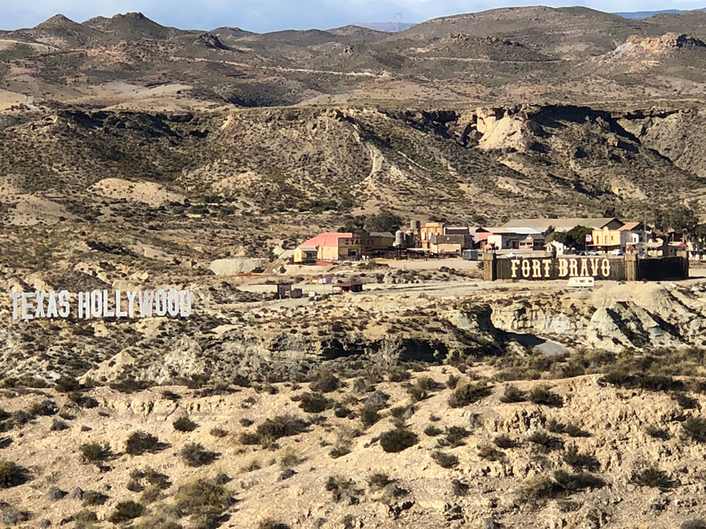 After delivering Chico, we wound our way down from the hills towards Almeria, and passed this collection of western-themed buildings complete with fort and tepees