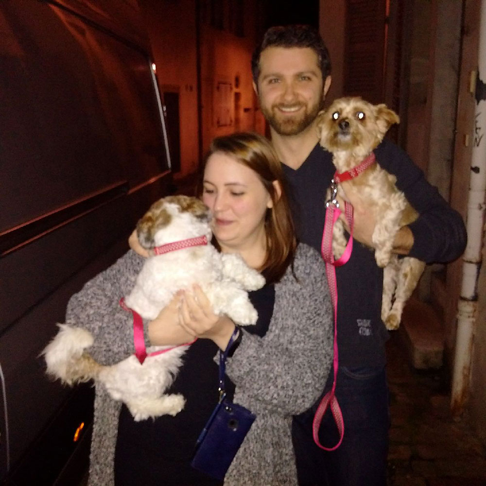 Mathew and Laura left the UK six months ago and have really missed their beloved dogs. So despite the late hour, it was the warmest of welcomes with cuddles all round.