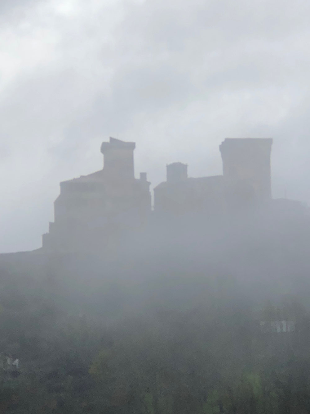 Mysterious early morning misty view of the castle at Verin, on the Spanish/Portuguese border