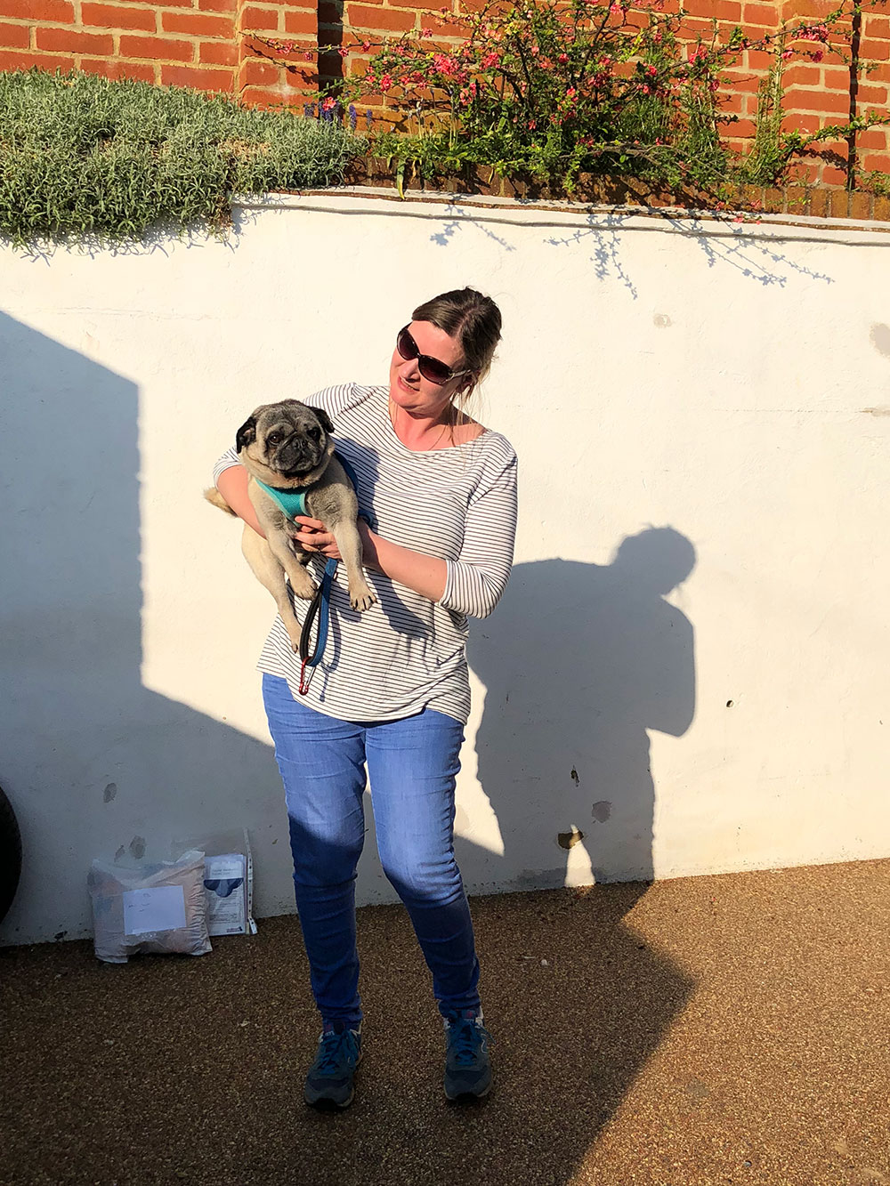 Courier Helen cuddling Arthur just before we set off from the UK