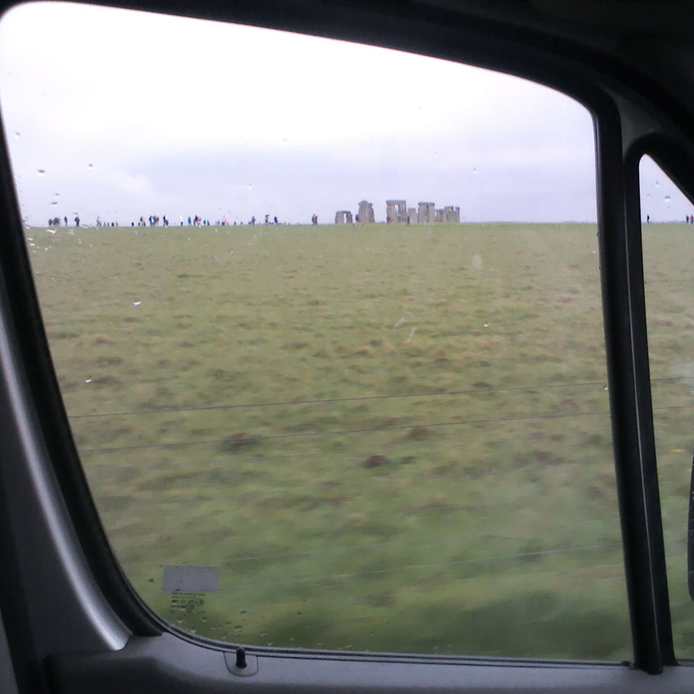 Courier P driving past Stonehenge on the way back from delivering Agapi