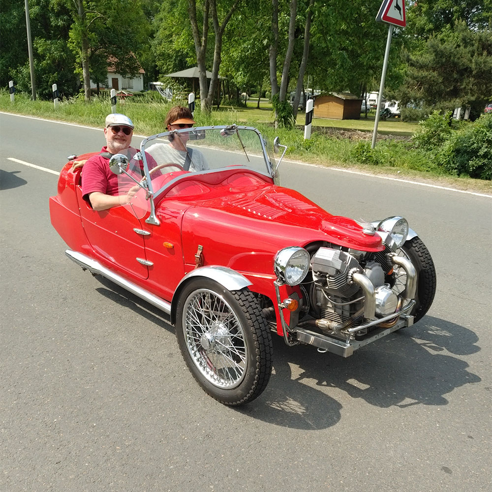 Masses of roadworks in Germany meant a detour onto the scenic route to the Farge-Berne ferry. Courier Richard was very taken with this classic Morgan that was also queueing for the ferry.