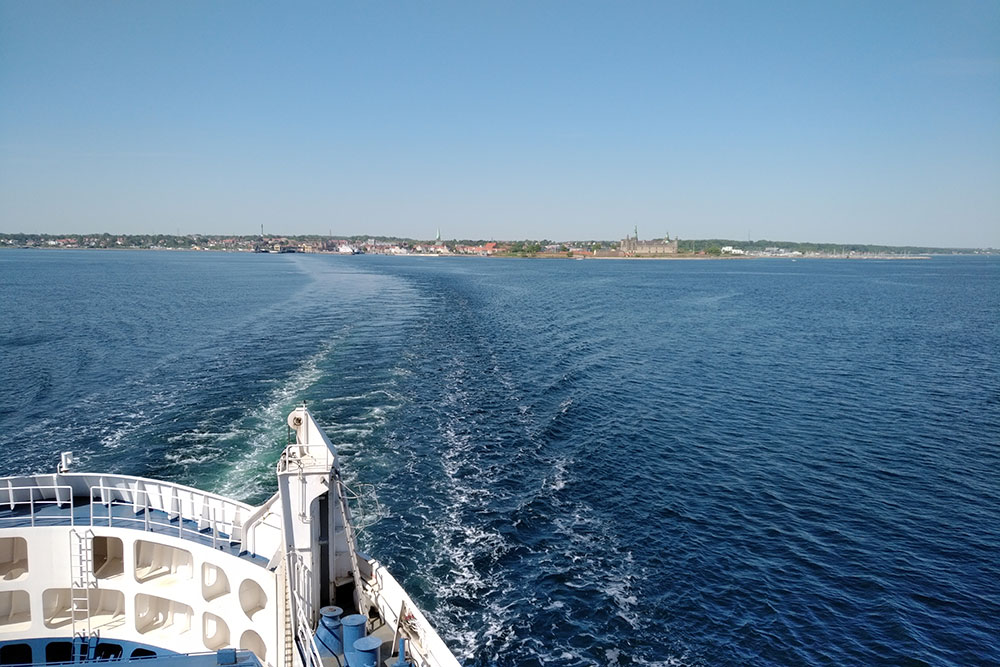 Leaving Helsingborg in Denmark, en route to Sweden