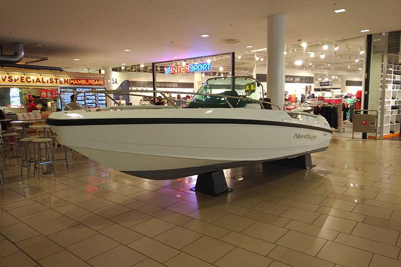 Our meeting place was the Nordby shopping centre, so courier Richard had a quick look round before heading off. You could buy almost anything there, from this speedboat…