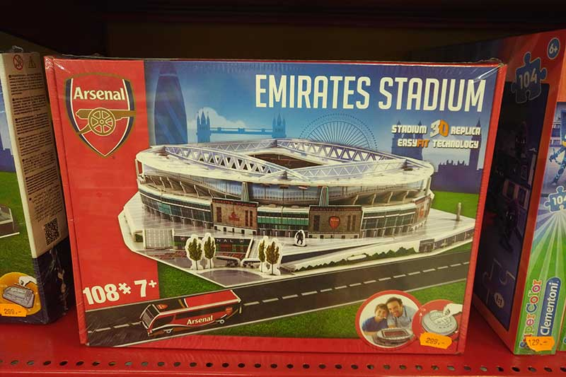 …to the Arsenal football stadium! Sadly, none of it could go on expenses...