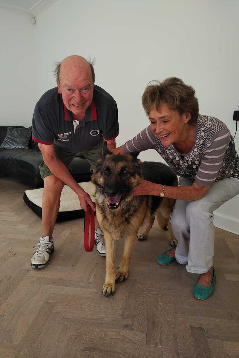 Sally reached Copenhagen ahead of her owners, Rikke and Christian. Christian's parents were delighted to welcome Sally and give her all the hugs this big softie wanted.