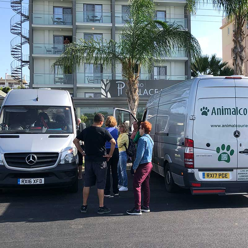 Outside our hotel, our vans were waiting for our passengers to get on board