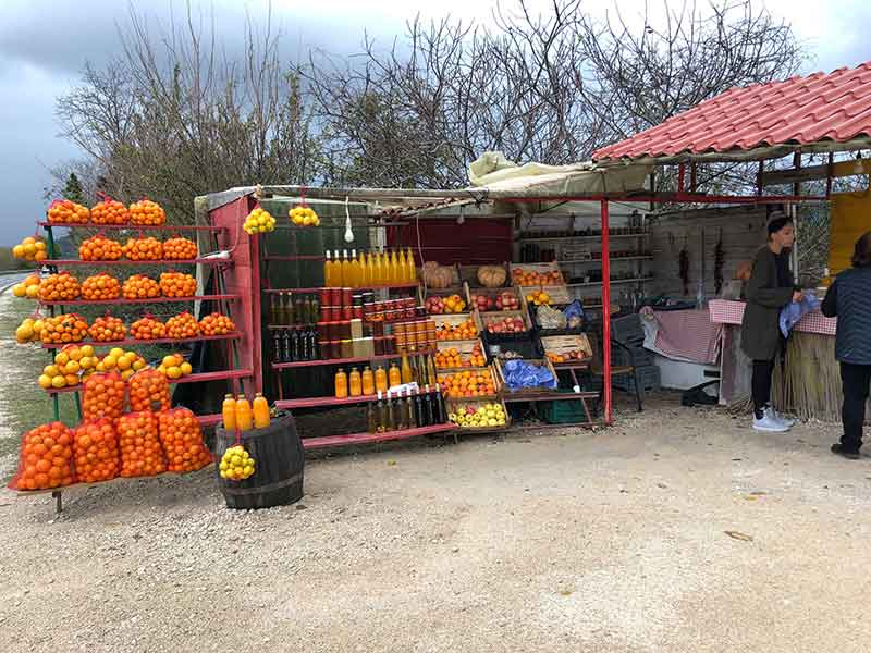 In Croatia we saw lots of orange and clementine trees. We stopped at one of the many roadside stalls and came away with far more goods than intended, thanks to a charming and effective saleswoman!