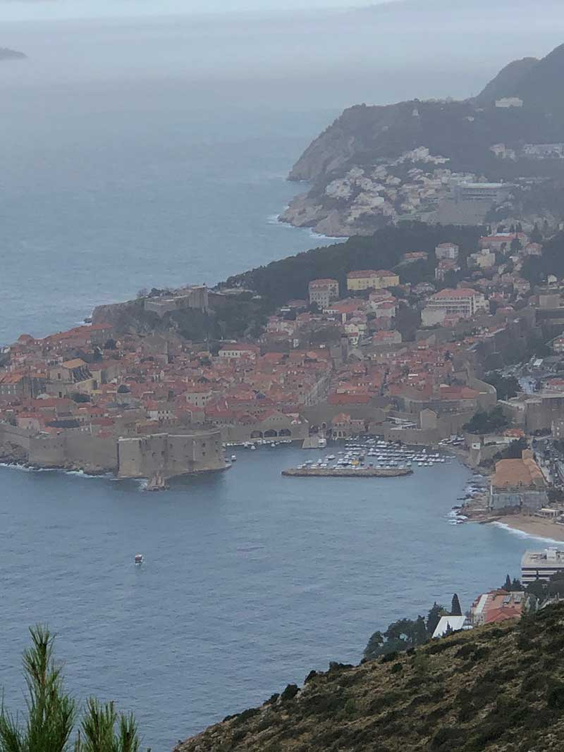 Eventually the rainclouds started to clear and we were treated to the fine view over Dubrovnik's old town and port that the shelter dogs enjoy — on a sunny day at least.