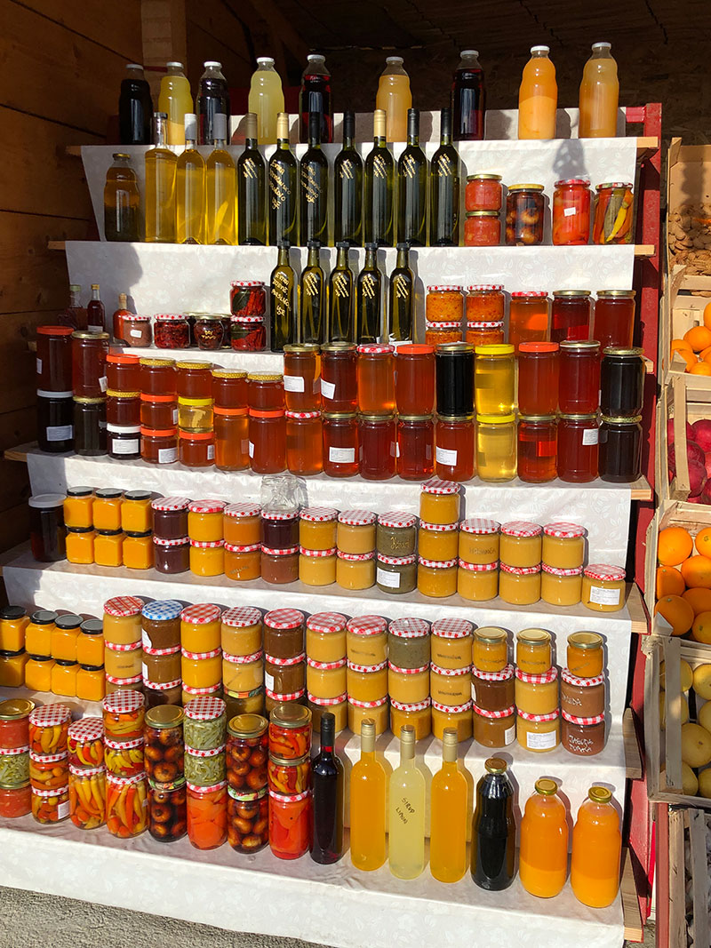 So many varieties of honey and preserves to choose from