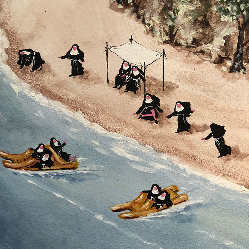 Curious details spotted in the artwork at our hotel — nuns on pedalos…