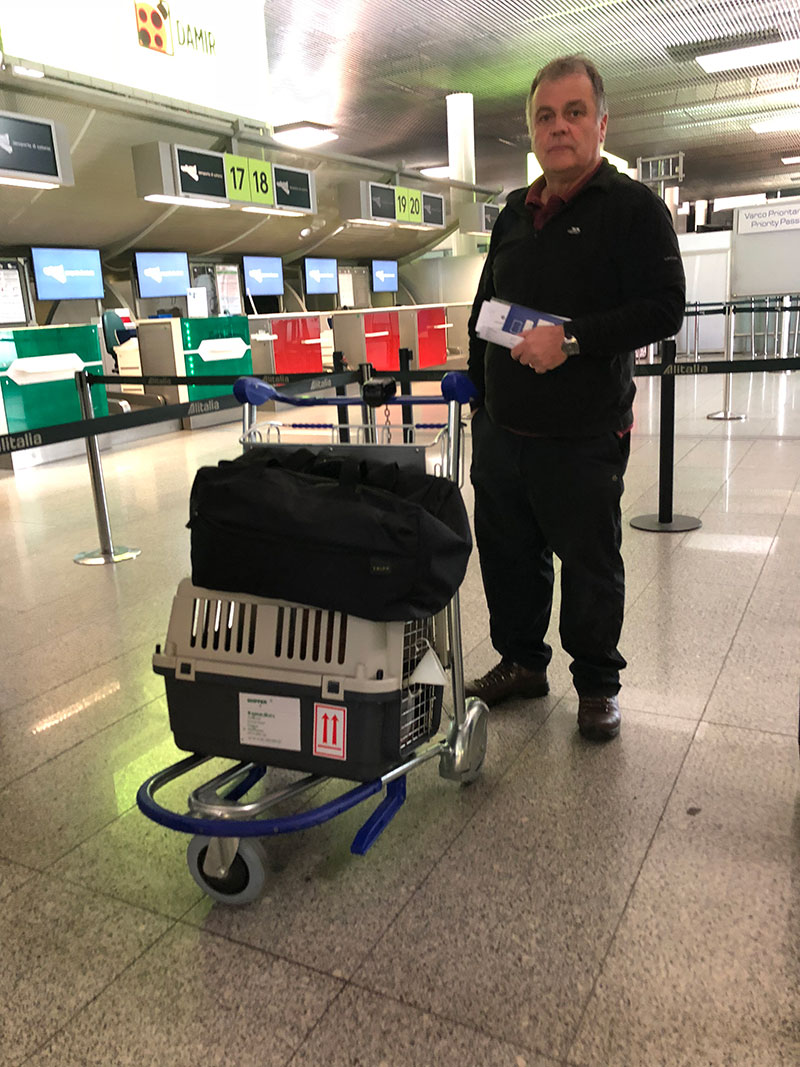 Courier Mike queueing to check in with Alf