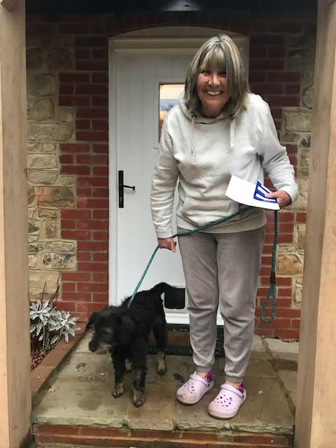 Maxi arriving at his new home with a very excited Beverley in Hampshire