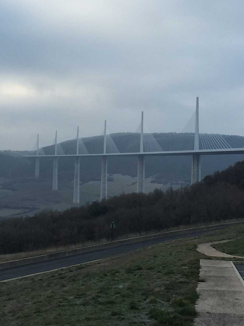 The Millau bridge looking all moody in the wintry weather