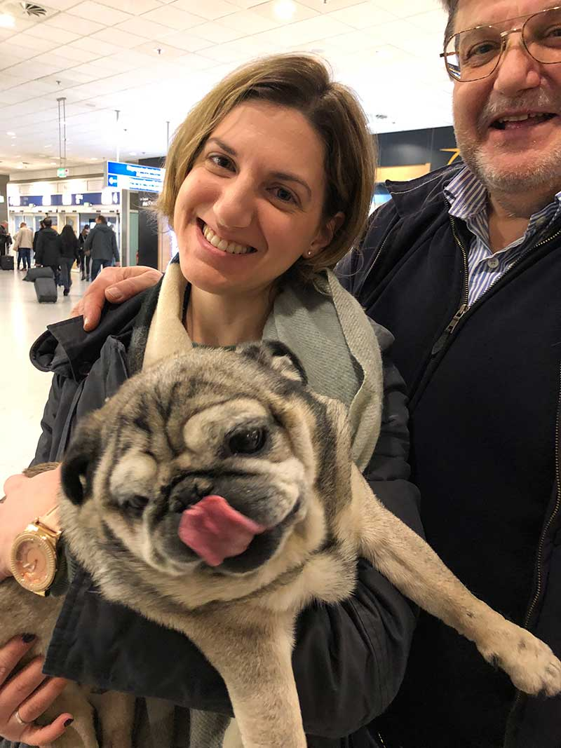 Billy with his owner and her brother at Athens airport. She was able to fly back to London happy in the knowledge that Billy is in the tender care of her family in Greece.