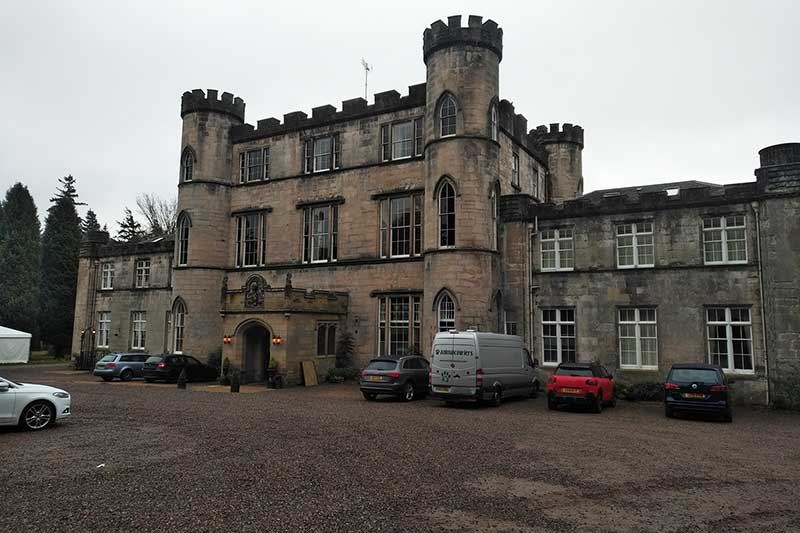 Humble overnight accommodation — a Scottish castle that managed to make our biggest van look titchy!